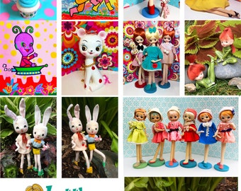 High Quality Photo Greeting Cards with Images of Vintage Pose Dolls (Bradley, Holiday Fair, Anime, Retro, Big Eyed Doll)