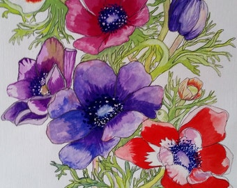 Framed painting in gouache - Anemones