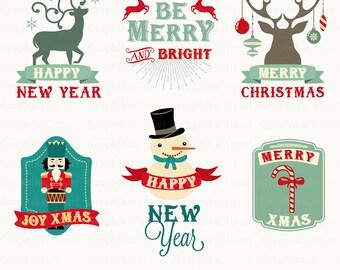 """Christmas Labels  Clipart. """"CHRISTMAS CLIPART"""". Christmas Badges, Ribbons, Frames. 6 images, 300 dpi. Eps, Png files. Instant Download."""