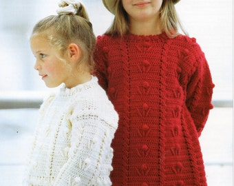 CROCHET PATTERN girls crochet sweater girls crochet jumper crochet tunic pattern 22-30 inches DK Girls Crochet Patterns pdf Instant Download