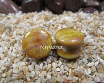 """Exotic Silver Earth Stone Plugs Pyrex Glass One Pair 00g 7/16"""" 1/2"""" 9/16"""" 5/8"""" 3/4"""" 1"""" 10 mm 12 mm 14 mm 16 mm 18 mm 20 mm 25 mm"""