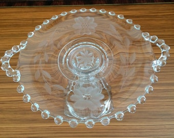 Vintage Candlewick Etched Handled Glass Plate/Pedestal Plate/Pedestal Cupcake Plate/Truffle Plate/Pastry Plate/Shabby Chic/Vintage/Wedding