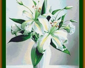 White Lilies Lily Flowers Counted Cross Stitch Pattern (Large 250 x 281 stitches) in PDF for Instant Download