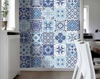 Portuguese Blue Tile Stickers Tile Decals Kitchen Backsplash Tiles For Kitchen