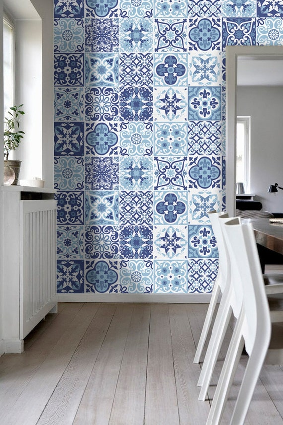 Portoghese piastrelle scala azulejos adesivi di parete for Kitchen colors with white cabinets with papiers peints pas cher