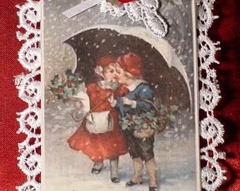 New Handmade Vintage Style Victorian Christmas Card Tree Ornament - Kissing