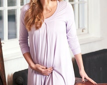 Tahlia Lilac Hospital Nursing Breastfeeding Gown, Pregnancy Nightdress