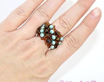 Beaded ring, Beadwork jewelry, Beadweaving jewelry, Beadwoven jewelry, Rings for women, Gemstone ring