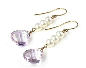 Pink Amethyst and Pearl Earrings
