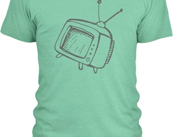 Hand Drawn Television (Grey) - Mens Combed Cotton T-Shirt (Sizes: S - 3XL with 20 Different Color Options)