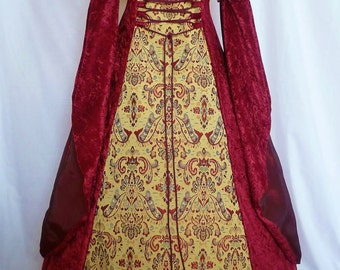 Medieval dress pagan gown gothic costume red velvet Fantasy dress Handfasting  Renaissance wedding custom made to any size larp