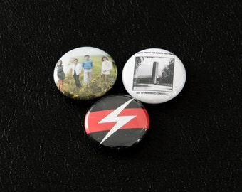 "Three Throbbing Gristle Pinback Buttons - Psychic TV Pin 1"" Pin Occult Industrial Genesis P-Orridge Noise"