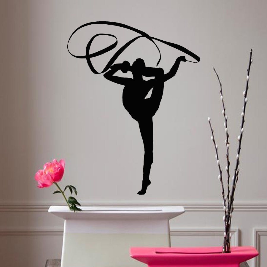 Wall decals girl gymnast with a ribbon sport by for Gymnastics wall decals