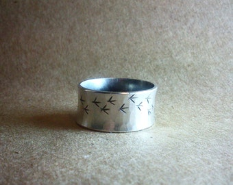 50% of sales donated! Wanderer Chicken/Bird Tracks Ring Sterling Silver