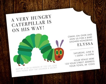 Hungry Caterpillar Baby Shower Invitation – Printable, Digital File – DIY