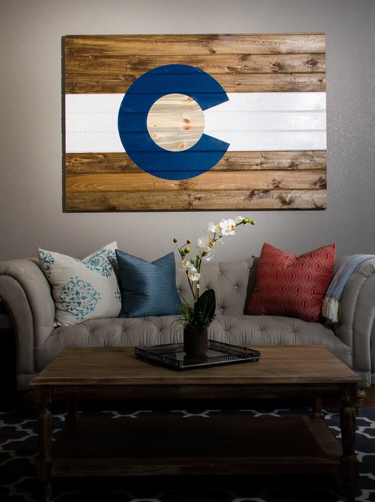 Large Wood Colorado Flag made with beetle-kill blue pine (Blue) - Colorado Flag Etsy