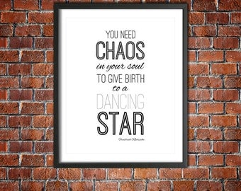 "Friedrich Nietzsche Motivational Print Typography Poster Download ""You Need Chaos..."" Inspirational Philosophy Quote Geekery Word Art"