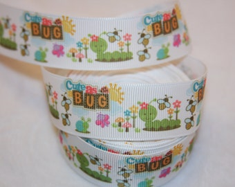 "cute as a bug grosgrain ribbon 1""  R208"