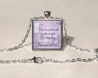 BIBLE QUOTE PENDANT Proverbs 31:25 Scripture Pendant Scripture Jewelry Bible Quote Faith Jewelry Bible Quote Pendant Christian Gift Lavender