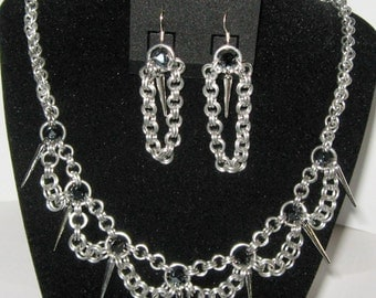 Chainmail Spiked Necklace & Earring Set