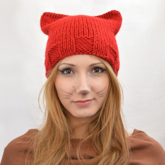 Cat Ear Knit Hat Pattern : Red Square Cat Hat Knit Cat Ear Hat or Cat Beanie Womens Cat