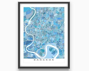 Bangkok Map, Bangkok Thailand, Bangkok Art Print, Travel Wall Art Map