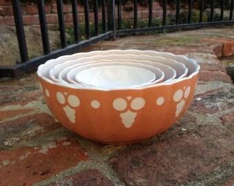 Villeroy & Boch Set of 5 Nesting Bowls Dresdon Saxony Antique Salmon Mauve Pink