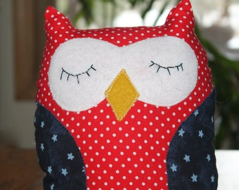 Owl, Red White and Blue Owl, Patriotic Owl,  Stuffed Plush Owl, Nursery Decor, Home Decor, Party Favors, Owl Pillow, July 4 Decor