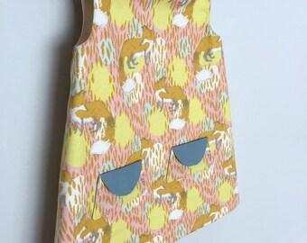 girls dress girls easter dress girls a line dress toddler dress shift dress towno 1960s dress sleeveless dress fox print fox dress retro