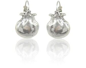 Pomegranate Earrings, Silver Pomegranate Earrings, Matte Silver Earrings, Pomegranate Jewelry, Judaic Jewelry, Judaic Earrings