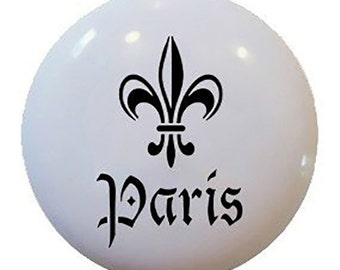 Paris Fleur de Lis Ceramic Knob or Pull for Furniture or Cabinets