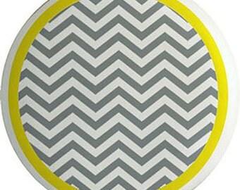 Gray Chevron Design Ceramic Knob or Drawer Pull Set of 4