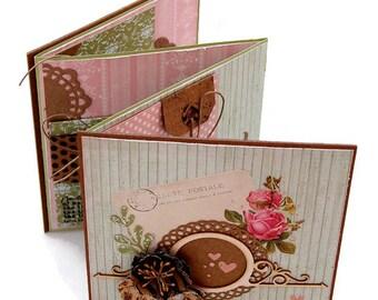 Mini Scrapbook Album - Cottage Chic Love Mini Book - Valentines Day Gift - Blank Scrapbook Mini Album - Love Brag Book - Gift For Her