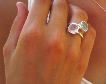 Aqua Chalcedony Gemstone Ring - Silver Ring - Gemstone Ring - Layering Ring - Stackable iIng
