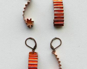 Copper Earrings - Corrugated - Copper - Star - Earrings