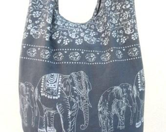 Shoulder Bag Crossbody Bag Handmade Bag Elephant Bag Hobo Cross Body  Bag Hippie Boho bohemian bag Purse Gift /  Gray Color Sling  bag