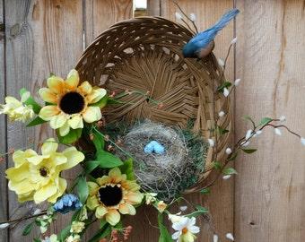 Springtime Robin Nesting Baskets/Springtime Home Decor/Spring Wreath /Sunflowers and Robin Floral Decor/Spring Decorating/Cheerful Decor