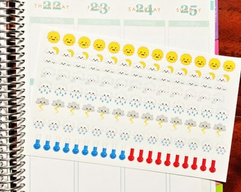 112 Weather stickers set! Perfect to keep track of weather in your planner or agenda! Erin Condren Life Planner Sticker