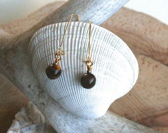 Katmai earrings, Tiger's eye earrings, Tiger's eye jewelry, dangle earrings, drop earrings, brown earrings, rustic jewelry, modern earrings