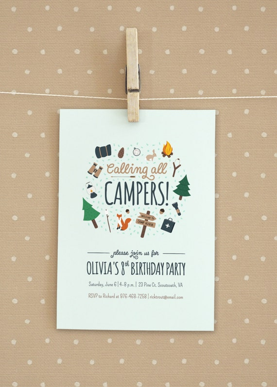 Camping / Girl Scout / Boy Scout Birthday Party Invitation