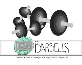 Barbell Clipart - Barbell Clip Art, Workout Clipart, Weightlifting Clipart, Weightlifting Graphic, Dumbbell Clipart, Gym Equitment Clipart