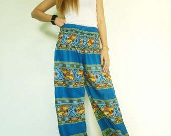 Boho Clothing Plus Size Pants Blue Elephant Pants Baggy Boho