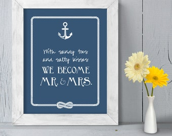 Romantic Ceremony Poster DIY Printable // Nautical Wedding Sign // Anchor & Rope Infinity Knot // Sandy Toes Salty Kisses ▷ Instant Download
