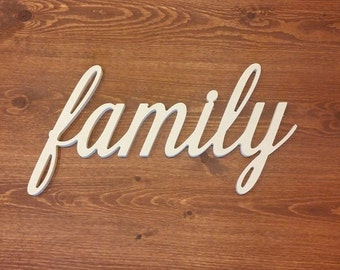 4 Inch Family Unfinished Custom Wooden Connected Word in Beautiful Cursive Font