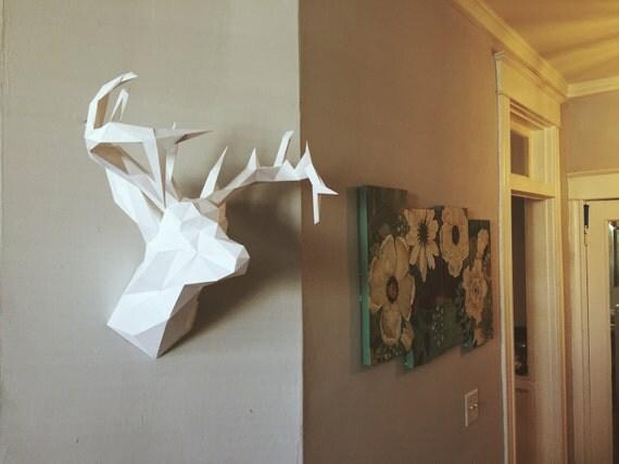 faux deer head papercraft model diy template by pazzlediy. Black Bedroom Furniture Sets. Home Design Ideas