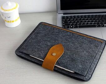 "Leather Flap 13 Macbook Sleeve , Felt 13 Macbook Air Case , 2016 13"" Macbook Pro , 13 Macbook Pro , 13 Macbook Case , 13 macbook Air #213"