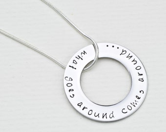 Karma Jewelry   What Goes Around Comes Around Hand Stamped Necklace   Hand Stamped Pendant