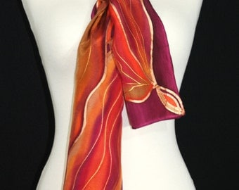 Brown Silk Scarf. Terracotta Hand Painted Silk Scarf. Brick Red Plum Handmade Scarf LAVA GARDEN Size 8x54. Birthday Gift. Anniversary Gift.