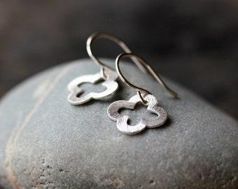 Silver Clover Earrings, Sterling Silver Quatrefoil Earrings, Lucky Earrings, Good Luck Jewelry, Sparkly Earrings, Everyday Style