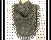 Gray Crochet Scarf, Crochet Triangle Scarf, Gray Scarf with Fringes, Tie Scarf Openwork, Gray Scarf - CENTIPEDE